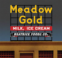 Micro-Structures Meadow Gold Large Animated Billboard HO Scale Model Railroad Sign #881951