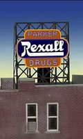 Micro-Structures Rexall Parker Drugs Flashing Neon Window Sign HO Scale Model Railroad Sign #8820