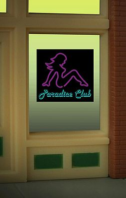 Micro Structures Paradice Club Flashing Neon Window Sign -- HO Scale Model Railroad Sign -- #8850
