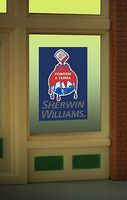 Micro-Structures Sherwin Williams Flashing Neon Window Sign HO Scale Model Railroad Sign #8935