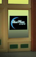Animated Neon Window Sign Blue Moon Cafe HO Scale Model Railroad Sign #8960