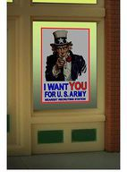 Micro-Structures UNCLE SAM WINDOW SIGN HO Scale Model Railroad Billboard Sign #9005