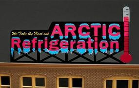 Micro-Structures Arctic Refrigeration Medium Animated Neon Billboard Kit Model Railroad Accessory #9582
