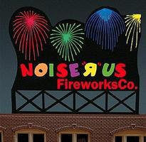 Micro-Structures Noise R Us Fireworks Co. Medium Animated Neon Billboard Kit Model Railroad Accessory #9782