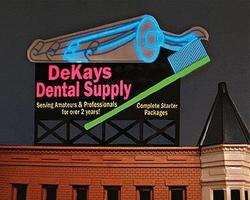 Micro-Structures DeKays Dental Supply Medium Animated Neon Billboard Kit Model Railroad Accessory #9882