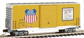 Micro-Trains 40 Single Door Hy-Cube Box Car Union Pacific #518250 (Armour Yellow, silver roof & ends) - N-Scale