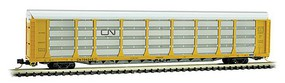 Micro-Trains 89' Tri-Level Enclosed Auto Rack Ready to Run Canadian National 704345 (yellow, silver, black Noodle Logo) N-Scale
