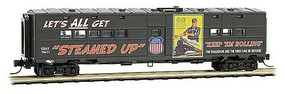Micro-Trains 50 Troop Kitchen Car - Ready to Run US Army 19411 (green, Steamed Up, UP WWII Poster Series Car 1) - N-Scale