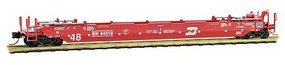 Micro-Trains 70' Husky-Stack Well Car with 48' Well Ready to Run Burlington Northern 64018 (red, white) N-Scale