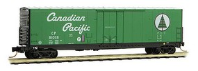 50' Boxcar, 8' Plug Door, No Roofwalk, Short Ladders - Ready to Run Canadian Pacific 81038 (green, white, black, Script Lettering) - N-Scale