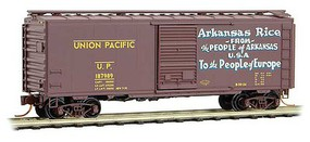 Micro-Trains 40 Single-Door Boxcar - Ready to Run Union Pacific #187889 (Boxcar Red, yellow, Arkansas Rice, Friendship Train # - N-Scale