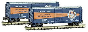Micro-Trains 40 Single-Door Boxcar - Ready to Run Baltimore & Ohio 467286 (blue, orange, silver, Time-Saver Logo) - Z-Scale