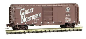 Micro-Trains 40 Single-Door Boxcar - Ready to Run Great Northern #19617 (Boxcar Red, Slanted Lettering, Circus Series #3) - Z-Scale