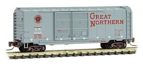 Micro-Trains 40 Double-Door Boxcar - Ready to Run Great Northern #3345 (gray, red, Circus Series Car #4) - Z-Scale