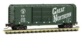 Micro-Trains 40 Double-Door Boxcar - Ready to Run Great Northern #3336 (1956 Experimental Scheme, green, white, Circus Series - Z-Scale