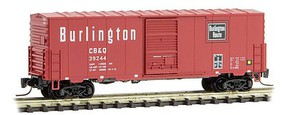 Micro-Trains 40 Single-Door Boxcar No Roofwalk - Ready to Run Chicago, Burlington & Quincy #39244 (Chinese Red, black, white) - Z-Scale