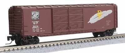 Micro Trains Line Pullman-Standard 50' Double-Door Boxcar -- Western Pacific #3004 (Western Pacific Brown with Feather) - Z-Scale