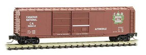 Micro-Trains 50' Double-Door Boxcar Ready to Run Canadian National 598412 (Boxcar Red, green CNR Leaf Logo) Z-Scale
