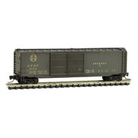 Micro-Trains 50 Double-Door Express Boxcar - Ready to Run Santa Fe #4166 (Weathered, Pullman Green, Hobo Graffiti) - Z-Scale