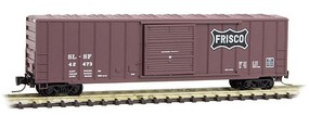 Micro-Trains 50 Rib-Side Single-Door Boxcar No Roofwalk - Ready to Run St. Louis-San Francisco #42473 (Boxcar Red, black Frisco Coonskin Logo) - Z-Scale