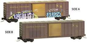 Micro-Trains 50 Boxcar weathered/grafitti Norfolk Southern (2) Z Scale Model Train Freight Car #51044140