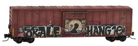 Micro-Trains 50 Rib-Side Single-Door Boxcar No Roofwalk - Ready to Run First Coast Railroad FCRD #5068 (Weathered, Boxcar Red, POW MIA Graffiti) - Z-Scale