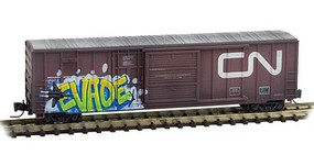 Micro-Trains 50' Rib-Side Plug & Sliding Door Boxcar No Roofwalk Ready to Run Canadian National #73272 (Weathered, Boxcar Red, Noodle Logo, Graffiti) Z-Scale