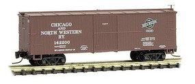Micro-Trains 40' Wood-Sheathed Boxcar Ready to Run Chicago & North Western #142200 (Boxcar Red) Z-Scale