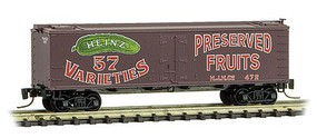 Micro-Trains 40 Wood-Sheathed Ice Reefer - Ready to Run Heinz 472 (Boxcar Red, red, green, Preserved Fruits, Heinz Series 2) - Z-Scale