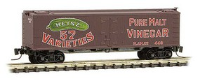 Micro-Trains 40 Wood-Sheathed Ice Reefer - Ready to Run Heinz 449 (Boxcar Red, red, Billboard 57, green, Vinegar, Series Car 5) - Z-Scale