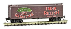 Micro-Trains 40 Wood-Sheathed Ice Reefer - Ready to Run Heinz 305 (Boxcar Red, red, Billboard 57, green, India Relish, Series Car 7) - Z-Scale