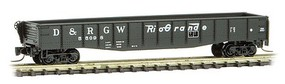 Micro-Trains 50 Fishbelly Drop-End Gondola - Ready to Run Denver & Rio Grande Western #55098 (black, Flying Grande Logo) - Z-Scale