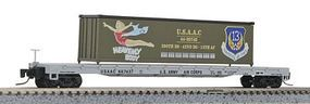 Micro-Trains 60 Steel Flatcar w/40 Container Load USAAC #667423 Z Scale Model Train Freight Car #52400105