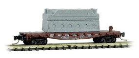 Micro-Trains 40' Steel Flatcar with Machinery Load Ready to Run Pennsylvania Railroad 473152 (Tuscan) Z-Scale