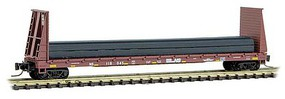 Micro-Trains 60 Bulkhead Flatcar w/Steel Beam Load - Ready to Run Norfolk Southern #118045 (Boxcar Red, yellow Conspicuity Marks) - Z-Scale