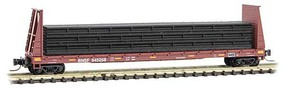 Micro-Trains 60' Bulkhead Flatcar with Pipe Load Ready to Run BNSF Railway 545258 (Boxcar Red, yellow conspicuity marks) Z-Scale