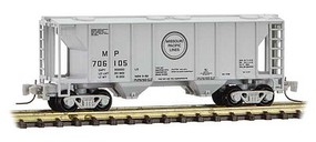 Micro-Trains PS-2 70-Ton 2-Bay Covered Hopper - Ready to Run Missouri Pacific 706105 (gray, black, Buzz Saw Logo) - Z-Scale