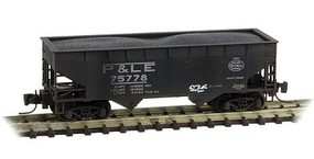 Micro-Trains 33 2-Bay Offset-Side Open Hopper w/Load - Ready to Run Pittsburgh & Lake Erie #75778 (Weathered, black, NYC Logo, Graffiti) - Z-Scale