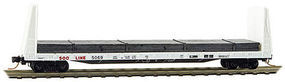 61' 8'' Bulkhead Flatcar Soo Line #5069 (white, red) Z Scale Model Train Freight Car #5400202