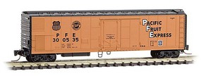 Micro-Trains 51 Riveted-Side Mechanical Reefer - Ready to Run Pacific Fruit Express 300562 (orange, black, black UP & SP Logos) - Z-Scale