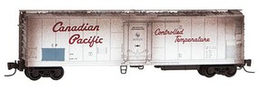 Micro-Trains 51 Riveted-Side Mechanical Reefer - Ready to Run Canadian Pacific (Weathered, silver, red, Script Lettering) - Z-Scale