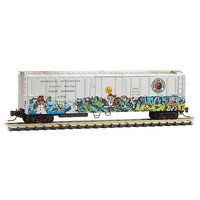 Micro-Trains 51 Rib-Side Mechanical Reefer - Ready to Run Northern Pacific 620 (Weathered, silver, Christmas Graffiti) - Z-Scale