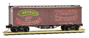 36' Wood-Sheathed Ice Reefer - Ready to Run Heinz 456 (Boxcar Red, red, Billboard 57, green, Ketchup, Series Car 12) - N-Scale
