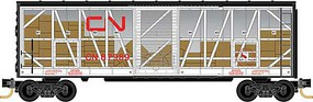 40' Single-Door Boxcar No Roofwalk - Ready to Run Canadian National 87989 (Impact Car Scheme, white, red, black, clear) - N-Scale