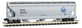 Micro-Trains ACF 3-Bay Center Flow Covered Hopper with Elongated Hatches Ready to Run Cotton Belt SSW 70429 (gray, blue, Cotton Belt Logo) N-Scale