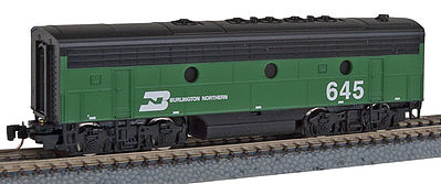 Micro Trains Line F7B Powered Burlington Northern #645 -- Z Scale Model Train Diesel Locomotive -- #98002252