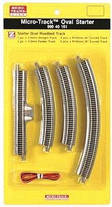 Micro Trains Line 12-Piece Starter Oval Set - Micro-Track(TM) -- Z Scale Nickel Silver Model Train Track -- #99040101
