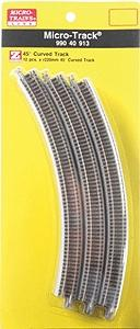 Micro Trains Line Curved Track 220mm x 45-Degree Curved Track -- Z Scale Nickel Silver Model Train Track -- #99040913