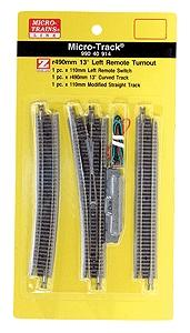 Micro Trains Line 13-Degree Remote Turnout - Left Hand -- Z Scale Nickel Silver Model Train Track -- #99040914