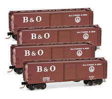Micro-Trains 40 Boxcar Runner Pack Baltimore & Ohio (4) N Scale Model Train Freight Car Set #99300101